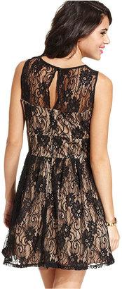 B. Darlin Juniors Dress, Sleeveless Lace A-Line
