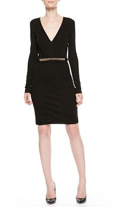 Roberto Cavalli Plunging Bead-Waist Dress, Black