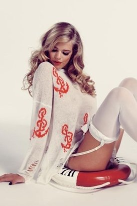 Wildfox Couture Shipwrecked Lennon Sweater in Clean White