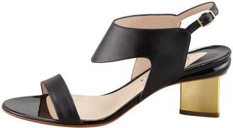 Nicholas Kirkwood Metallic-Heel Leather Sandal, Black