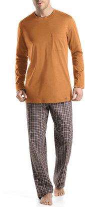 Hanro Edward Woven Check Pajama Pants, Gray