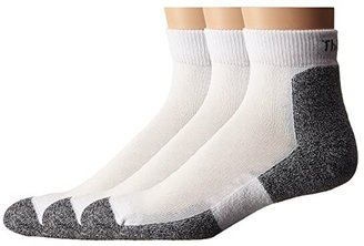 Thorlos Lite Running Mini-Crew 3-Pair Pack (White) Men's Quarter Length Socks Shoes