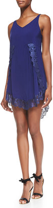 Free People Eyelashes Lace-Trimmed Slip Dress, Dark Blue