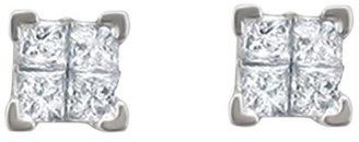 Diamond 1 CT. T.W. Princess Cut Composite Set Screw Back Stud Earrings in 14K White Gold (IJ, I2)