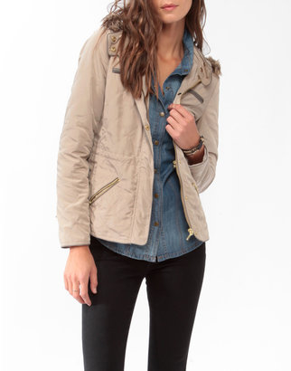 Forever 21 Quilted Hooded Jacket