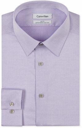 Calvin Klein Steel Men Slim-Fit Non-Iron Performance Herringbone Point Collar Dress Shirt
