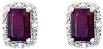 Sterling Emerald-Cut Fancy Stud Earrings w/ Diamond Accent