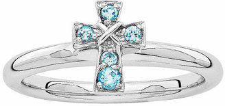 Silver Cross FINE JEWELRY Personally Stackable Genuine Blue Topaz Sterling Stackable Ring