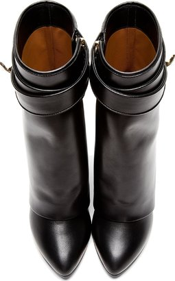 Givenchy Black Leather Tria Shark Lock Wedge Boots