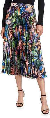 Milly Tropical Palm-Print Pleated Midi Skirt