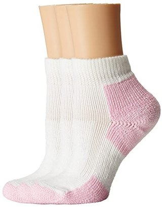 Thorlos Thick Cushion Distance Walking 3-Pair Pack (White/Pink) Women's Quarter Length Socks Shoes