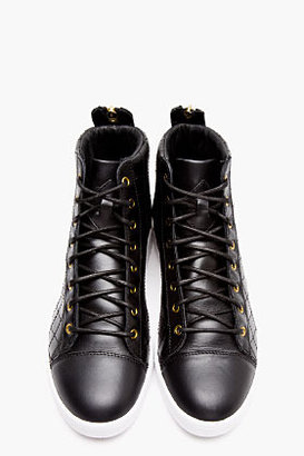 Diesel Black Quilted Leather Diamond Sneakers