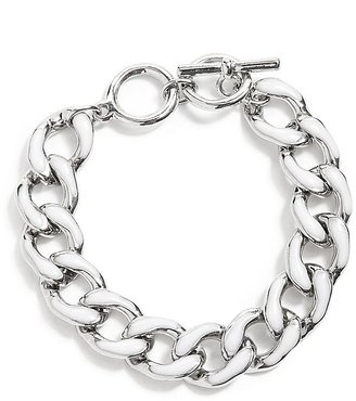 GUESS Silver-Tone Chain Link Bracelet With White Enamel Finish