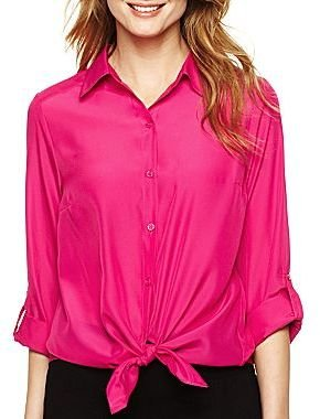JCPenney Alyx Solid Tie-Front Blouse