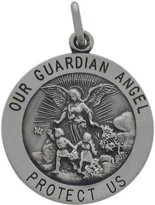 Germ Guardian Sterling Silver Our Guardian Angel 22mm Religious Medal Medallion with Chain - 16