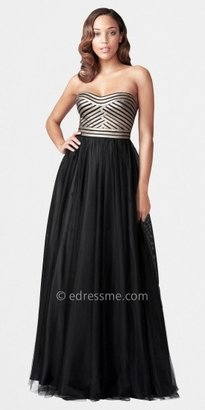Aidan Mattox Long Strapless Faux Leather Bustier and Tulle Ballgowns