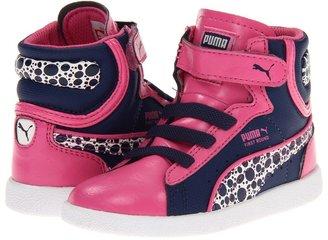 Puma Kids - First Round Sun Change V (Infant/Toddler/Youth) (Azalea Pink/Medieval Blue/Whisper White) - Footwear