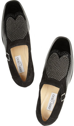 Jimmy Choo Bay studded suede and patent-leather monk-strap loafers