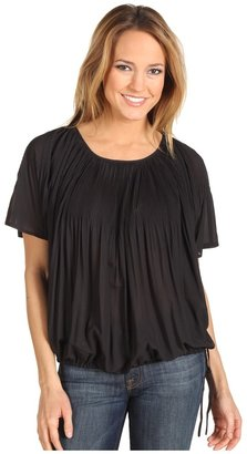 DKNY DKNYC - Batwing Pleated Blouse (Black) - Apparel