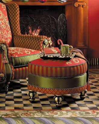 Mackenzie Childs MacKenzie-Childs Red Harlequin Ottoman