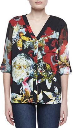 Alice + Olivia Colby Printed Blouse, Blossom Montage