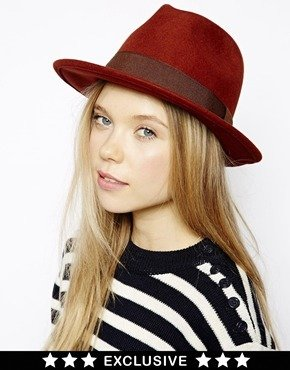 Catarzi Exclusive to ASOS Fedora with Brown Ribbon - Burnt orange