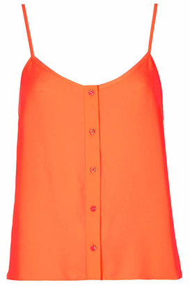 Topshop Strappy cami with front button through placket detail in burnt orange. 100% polyester. machine washable.