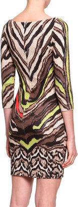 Just Cavalli Short Tiger-Print Jersey Dress, Natural/Yellow