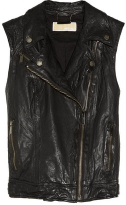 MICHAEL Michael Kors Washed-leather biker vest