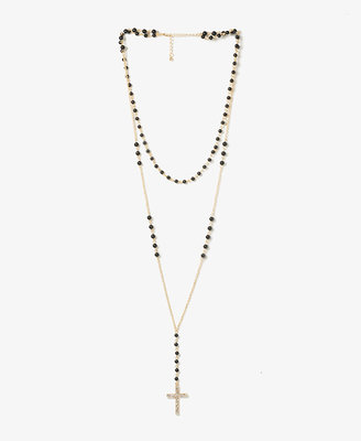 Forever 21 Beaded Rosary Chain Necklace