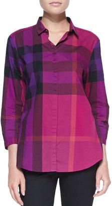 Burberry Check Bracelet-Sleeve Shirt, Bright Magenta