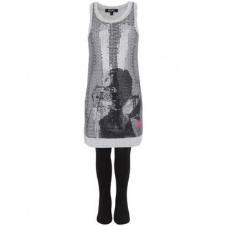 DKNY Silver Sequin Girl Print Dress