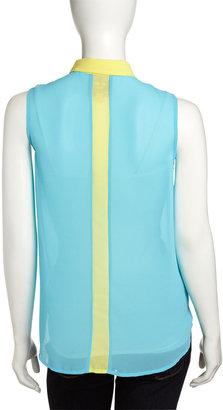 Romeo & Juliet Couture Contrast-Trim Chiffon Top, Aqua/Lime