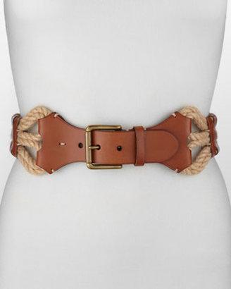Ralph Lauren Leather With Woven-Jute Belt, Tan/Natural