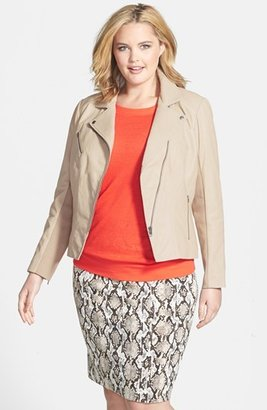 Halogen 'Powder' Lambskin Leather Jacket (Plus Size)