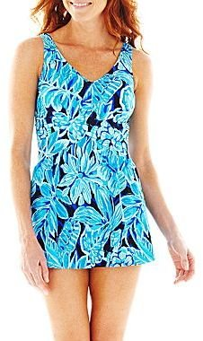 JCPenney Le Cove® Tropical Print Empire-Waist One-Piece Swimdress