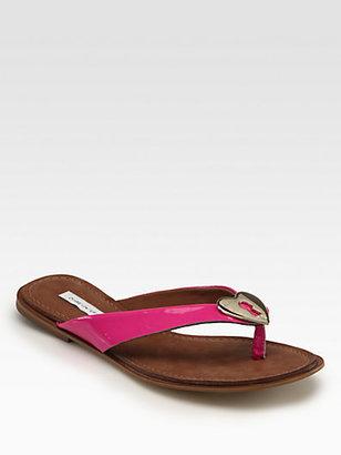 Diane von Furstenberg Kyra Patent Leather Heart Thong Sandals