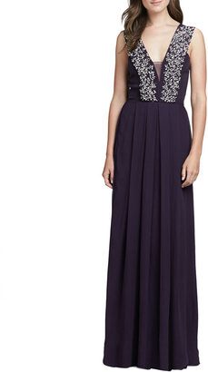 Rebecca Taylor Beaded Double V-Neck Gown