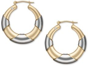 Signature Gold Diamond Accent Graduated Hoop Earrings in 14k Gold and White Gold over Resin
