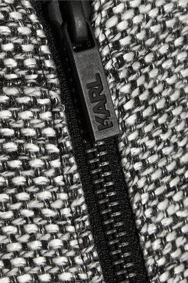 Karl Lagerfeld Metallic tweed and faux leather peplum jacket