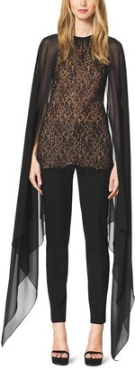 Michael Kors Beaded Lace Cape Blouse