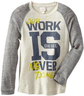 Diesel Boys 8-20 Tufisy Long Sleeve Melange Waffle Raglan Shirt