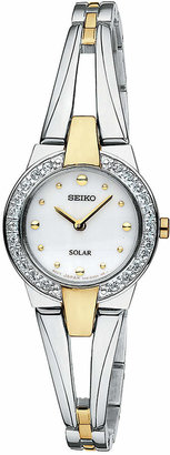 Seiko Watch, Women's Solar Two Tone Stainless Steel Bracelet 22mm SUP206 $275 thestylecure.com