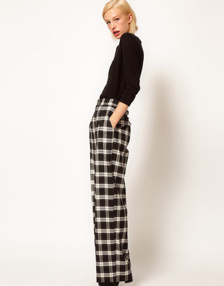 Asos Wide Leg Pants In Check