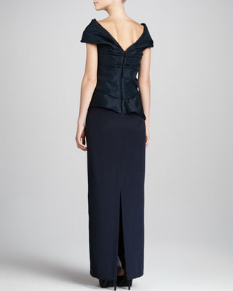 Marchesa Structured-Top Combo Dress, Navy