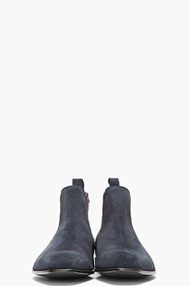 Paul Smith Navy and purple Falconer Oceano suede boots