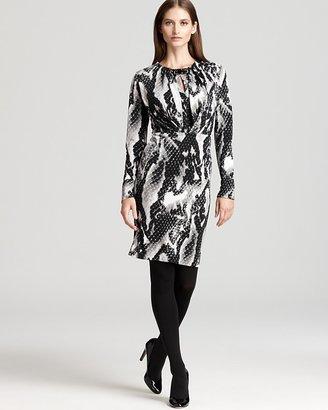 Jones New York Collection Long Sleeve Jewel Neck Pleated Dress