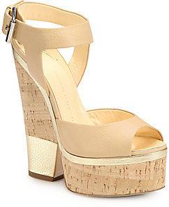 Giuseppe Zanotti Metallic Leather and Cork Platform Sandals