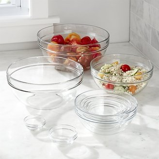 "Crate & Barrel 10-Piece 2.25""-10.25"" Glass Nesting Bowl Set"