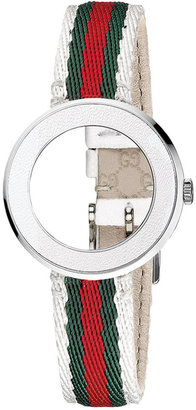 Gucci Women's U-Play Silver Guccisima Leather Watch Strap and Bezel 35mm YFA50033 $195 thestylecure.com